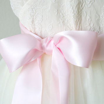 Satin Ribbon Sash - Light Pink, 2.25 Inches Wide