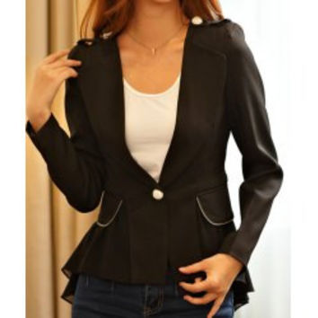 Chic Style Lapel Neck Button and Pockets Embellished Swallowtailed Women's Blazer
