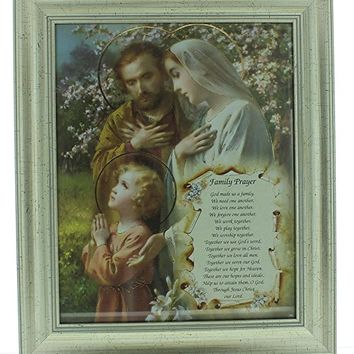 "FRAMED ART GLASS HOLY FAMILY PRAYER 10.25"" X 12.25""."