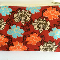 Coin Purse Coin Bag Small Cosmetic Clutch in Red Lotus Flower