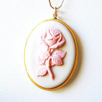 Vintage Rose Cameo Necklace Pink White Gold Chain Mothers Day 1979