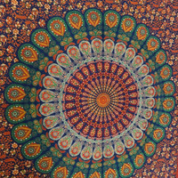 Hippie Wall Tapestries, Indian Mandala Bedspread, Multi Color Theme Room Decor, Bohemian Tapestry Bedding, Dorm Tapestry, Beach Throw