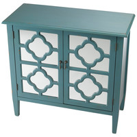Sayre 2-Door Mirrored Cabinet, Blue, Cabinets & Hutches