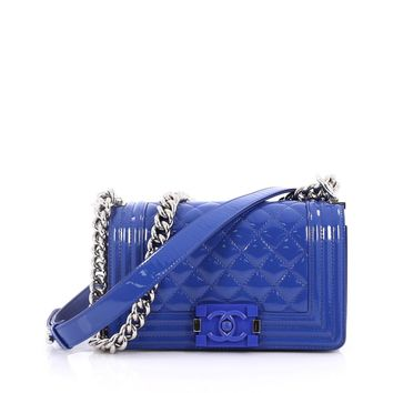 Chanel Pre-Owned: Boy Flap Bag Quilted Plexiglass Patent Small | Bluefly.Com