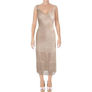 Alberta Ferretti Womens Tulle Embellished Cocktail Dress