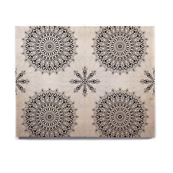 "Julia Grifol ""Black Mandala"" White Black Birchwood Wall Art"