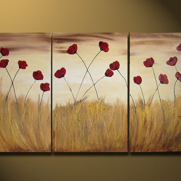 Original Large Abstract Painting Modern Contemporary Landscape Garden Flowers Red Gold Cream floral LARGE 48x24 In the Sunlight textured