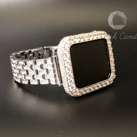 38mm/40mm 42mm/44mm Apple Watch Band Series 1,2,3,4 Women's Silver Rhinestone Crystal Stainless Iced Out 3.5mm Lab Diamond Case Cover Bezel