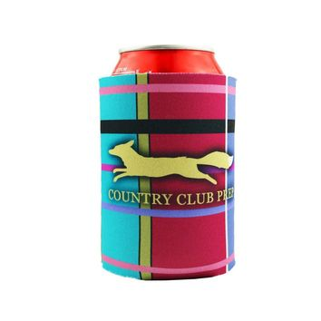 Madras Plaid Can Holder in Navy by Country Club Prep