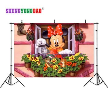 SHENGYONGBAO 210cm*150cm Art Cloth Backdrops for Photography Mickey Mouse Photo Studio Background NML-1085