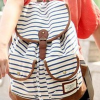 Retro Style Strip Print Backpack