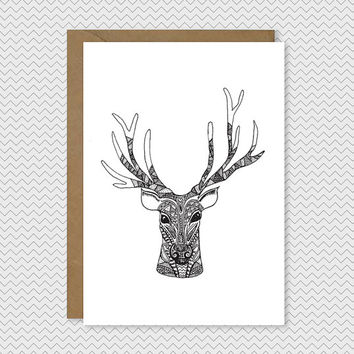 Reindeer Christmas Card - Hand drawn illustrated Reindeer with antlers - Quirky cool pattern xmas card