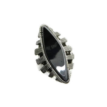 Whiting & Davis Hematite Ring, Vintage Black Glass Ring, Black Designer Ring, Silvertone Ring, Signed Whiting and Davis Jewelry, Size 6