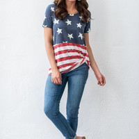 American Sass Top, Blue-Red