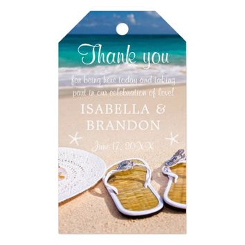 Tropical Ocean Beach Wedding Thank You Gift Tags