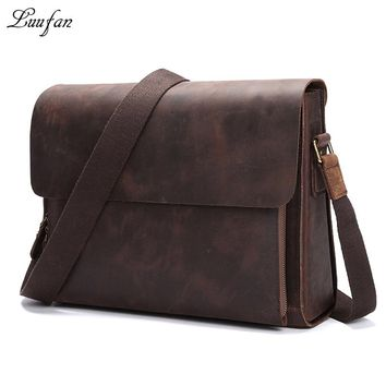 Vintage Crazy Horse Leather Shoulder Bag Men's Cowhide Messenger Bag Genuine Leather Briefcase