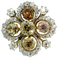 1890s Theodore B. Starr Natural Fancy Diamond Gold Pendant Brooch