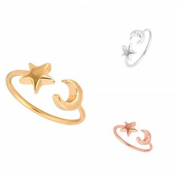 LMFONEJ Silver & Rose Gold Plated  Crescent Moon & Star Ring