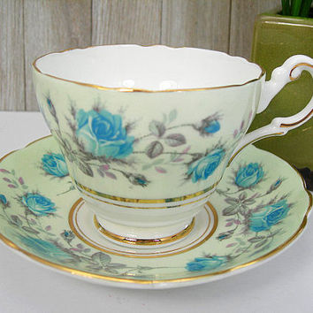 Regency Tea Cup Set - Bone China - Made in England - Vintage Tea Cup and Saucer - Pale Green with Blue Roses - Gold Trim - Tea Party