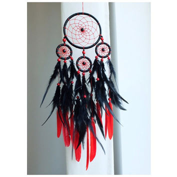 Dreamcatcher, Boho Dreamcatcher, Black Dreamcatcher, Red Dreamcatcher, Boho Wall Hanging, Gypsy, Bohemian, Hippie