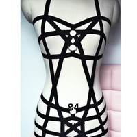 2016 new pastel goth female bust  garter belt gothic bust bondage suit  Rave wear bondage sexy women lingerie set  black retail