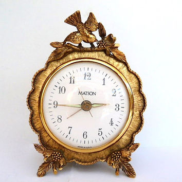 Vintage Matson Gold Gilt Ormolu Bird & Dogwood Blossom Ornate Working Electric Alarm Clock Mid Century