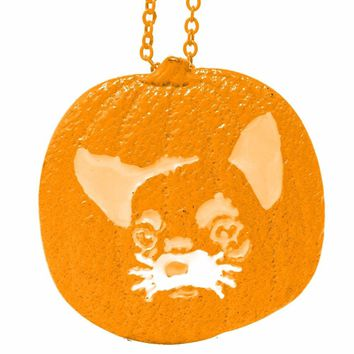 Pumpkin Chihuahua Necklace Pendants Dog Lover Halloween Charms Memorial Gift Jewelry Necklace Women Choker Orange Lead Free
