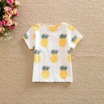 Fashion Cute Baby Girls Kids t Shirts Pineapple Print Summer One-pieces Casual T-Shirt Clothes 2-6 Year