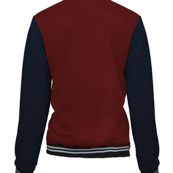 Red Badge Embellished Baseball Jacket