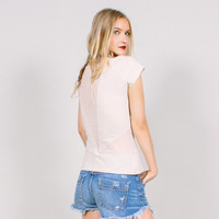 Sheer geometric panel t-shirt - cream