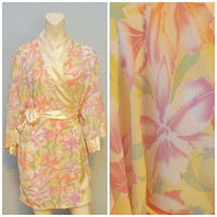 Vintage 1990's Semi-Sheer Victoria's Secret Robe Bathrobe Lingerie Yellow with Floral Print Hibiscus Flower Print Sexy Lightweight Pajamas