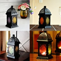 Classic Moroccan Style Glass Candle Holder Iron Candlestick Hanging Light Home Wedding Decor