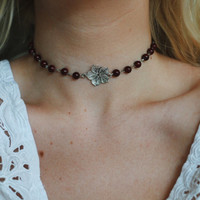 Hawaiian Hibiscus glass beaded choker necklace