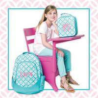 Aqua Trellis Quatrefoil Lattice Pattern Girls Embroidered Backpack Monogram Name Personalized Custom Camp Bag Tote