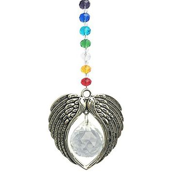 1PCS Crystal Angel Wing Pendant Hanging Rainbow Suncatcher Crystal Ball Prism Car Rear View  Mirror Charms