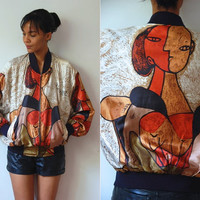Vtg Picasso Print Copper Tones Zip Up Bomber Jacket