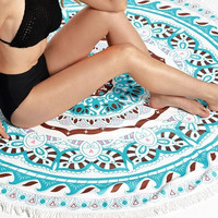 Mandala Java Blue Round Beach Towel