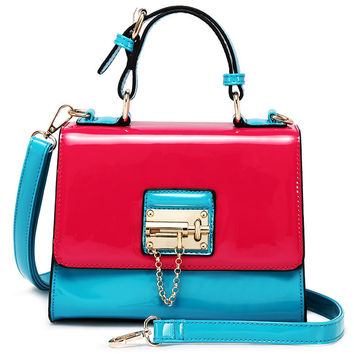 Trendy Designer Patent Leather Lock Patchwork Satchel and Shoulder Bag - 3 colors