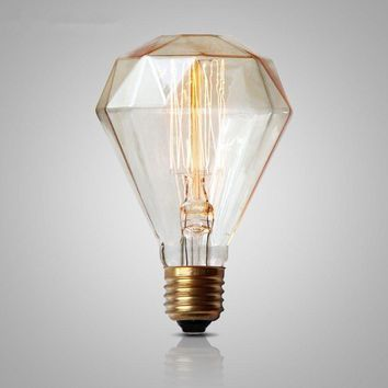Retro Vintage Light Bulb G95 Edison Bulb Diamond E27 40W 220V Incandescent Bulb Filament Bulb Edison Light Tungsten carbon Lamps