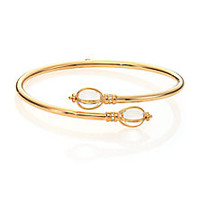 Temple St. Clair - Bellina Classic Rock Crystal, Diamond & 18K Yellow Gold Bypass Bangle Bracelet - Saks Fifth Avenue Mobile