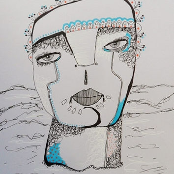 Outsider Art Drawing - Folk Art Illustration- Art Brut - Lilac Art - Purple Face - Primitive Drawing - Primitive Portrait - Quirky Face