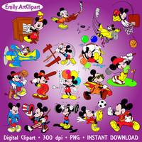 Digital Clipart 17 Image Mickey Mouse Party Clip Art Scrapbooking Invitations Disney Cartoon Graphic INSTANT DOWNLOAD printable 300 dpi png