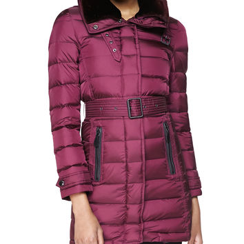 Women's Leather-Trim Puffer Coat W/ Shearling Fur Collar, Deep Claret - Burberry Brit - Deep claret