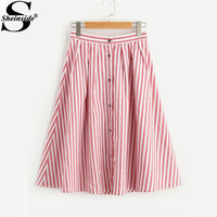 Sheinside Red Pleated Striped Midi Skirt High Waist Women Buttoned Front Cute Summer Skirts 2017 Casual A Line Cotton Skirt