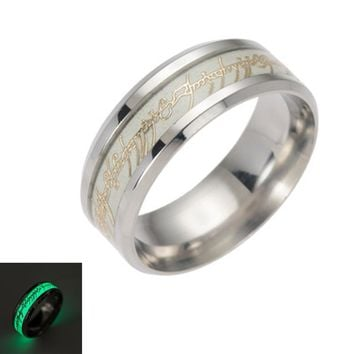 New Original Luminous Ring Glow In The Dark Gold Inlay Green Background Fashion Silver Men Woman Rings Fluorescent Glowing