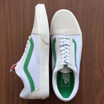 vans white green canvas skate shoes