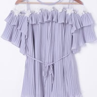 Light Purple Mesh Paneled Cocktail Dress with Flower Ruffle Design