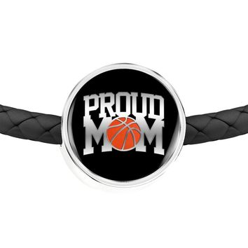 Proud Basketball Mom - Double-Braided Leather Charm Bracelet