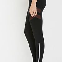 Mesh Chevron-Paneled Leggings