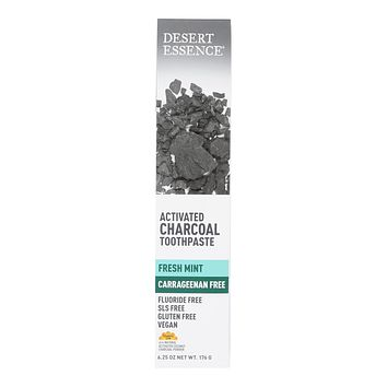 Desert Essence Toothpaste, Activated Charcoal, CF - 6.25 OZ